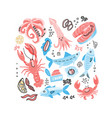 seafood hand drawn simple color doodle with fish vector image