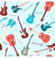seamless pattern with guitars and text vector image vector image