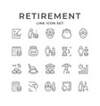 set line icons retirement or pension vector image