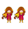 set of cute cartoon little girls in autumn coat vector image vector image