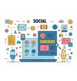 thin line social networking poster banner vector image