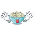 tongue out rice bowl mascot cartoon vector image