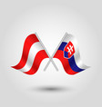 two crossed austrian and slovak flags vector image vector image