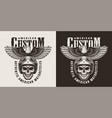 vintage custom motorcycle badge vector image vector image
