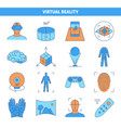 virtual reality icon set in colored line style vector image vector image