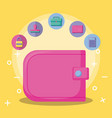 wallet with economy and financial icons vector image