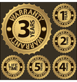 Warranty golden label set vector image vector image