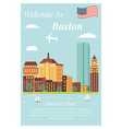 welcome to boston vintage poster landmarks vector image vector image