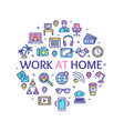 work at home signs round design template thin line vector image