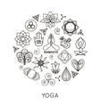Set of outline yoga monograms and logos Abstract vector image