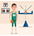 Basketball player holding ball near backboard vector image