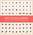 63 fast food icons set vector image vector image