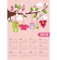 American calendar 2016 yearBaby girl fashion vector image