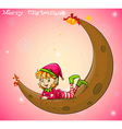 An elf and a moon vector image vector image