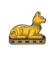 ancient egyptian cat statue sketch vector image vector image