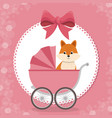 baby shower card with cute fox in cart vector image vector image