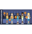 basketball team on podium awarding vector image