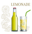 bottle of lemonade and a glass on the background vector image vector image