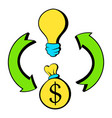 bulb dollar sign and green arrows icon cartoon vector image