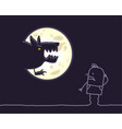 cartoon characters - werewolf moon vector image