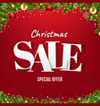 christmas sale poster with christmas tree vector image vector image