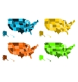 Coloured maps of United States of America vector image vector image
