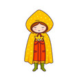 cute little girl in yellow raincoat with polka vector image vector image