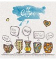 decorative sketch of cups of coffee vector image vector image