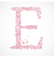 E letter Alphabet from pink petals of rose vector image