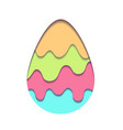 egg carving of paper with paint drops and shadow vector image vector image