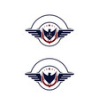 emblem wings falcon and propeller vector image vector image