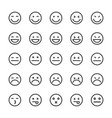 emoticons lines icons set vector image vector image