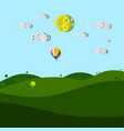 empty meadow cartoon with paper cut clouds and sun vector image vector image