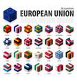 european union and membership eu 3d cubic flag vector image vector image