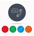 FAQ service icon Support speech bubble sign vector image vector image