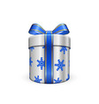 gift box 3d blue ribbon bow isolated white vector image vector image