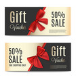 gift voucher template with red ribbons tied on bow vector image vector image
