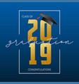 graduation greeting card class 2019 - banner vector image