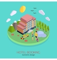 Hotel booking 3d isometric design concept vector image vector image