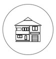 house icon black color in circle isolated vector image