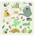 Human hand watering money coin tree with can vector image vector image