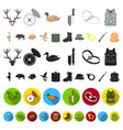 hunting and trophy cartoon icons in set collection vector image vector image