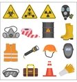 Industrial job work safety equipment flat icons vector image vector image