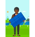 Man holding solar panel vector image vector image