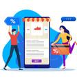 men and women buy goods in online stores vector image vector image
