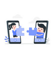 online cooperation and teamwork concept vector image vector image