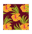 orange flowers plants tropical pattern background vector image vector image