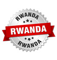 Rwanda round silver badge with red ribbon vector image vector image