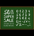 sale 50 percent drawing on blackboard Numbers 0-9 vector image
