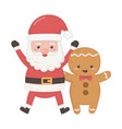 santa and gingerbread man decoration merry vector image vector image
